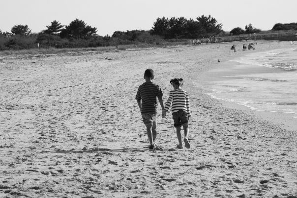 A Stroll Down the Beach - Cape May NJ (B&W)