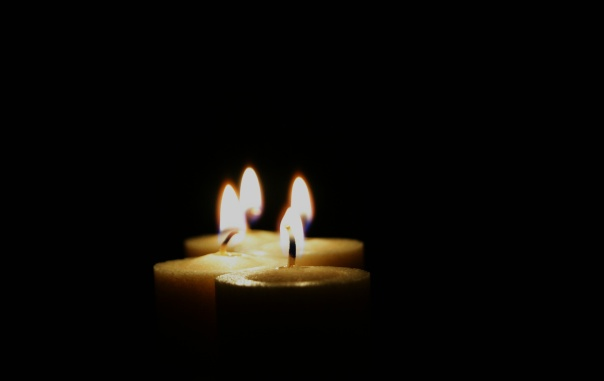 The Twinkling light of a candle.