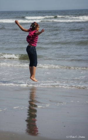 Jumping the itty bitty waves...LOL