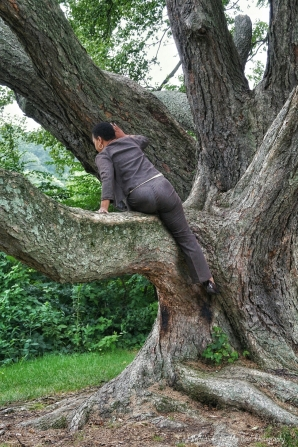 Getting her 50-year-old-ass up a tree is not always easy.