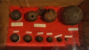 Musket balls and bomb/explosives (ones with the holes).
